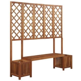 vidaXL Garden Planter with Bench and Trellis Solid Acacia