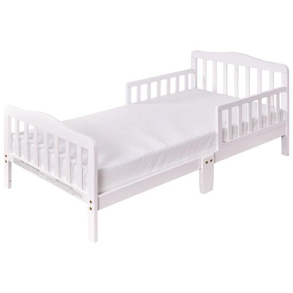 Costway Baby Toddler Bed Kids children Wood Furniture w/ Safety Rails White
