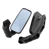 Unique Bargains 2 Pcs Black Aluminum Rectangle Rearview Blind Spot Blue Mirror for Motorcycle