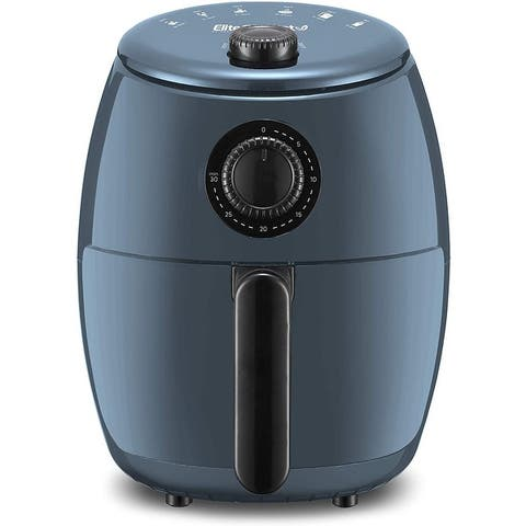 Elite Gourmet 2.1qt Hot Air Fryer with Adjustable Timer and Temperature for Oil-free Cooking, Blue Grey