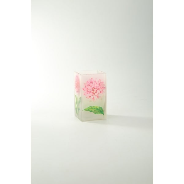 "6.5"" Clear Floral Printed Square Flower Hand Blown Glass Vase Tabletop - N/A"