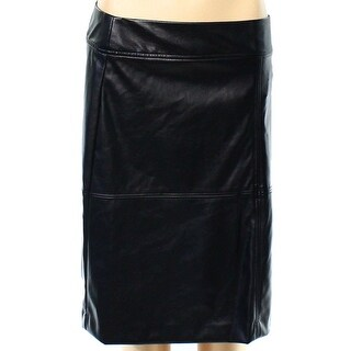 Alfani NEW Black Faux-Leather Seamed Women's Size 4 A-Line Skirt