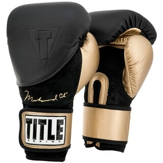 Title Boxing Ali Legacy Hook and Loop Training Boxing Gloves - Black/Gold