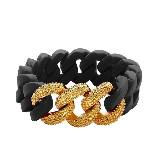Silix by Aya Black Silicon Bracelet with 18K Gold-Plated Beaded Stainless Steel - Yellow