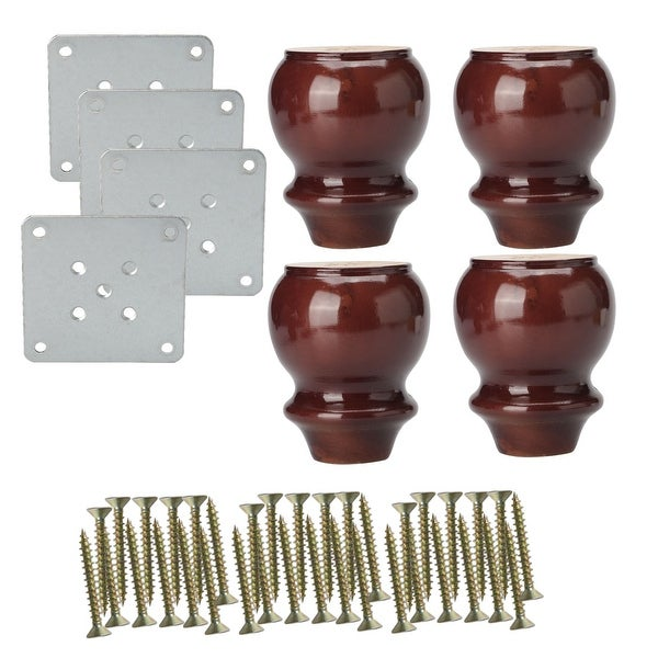 4 Solid Wood Furniture Leg Desk Sofa Table Feet Replacement Adjuster Set