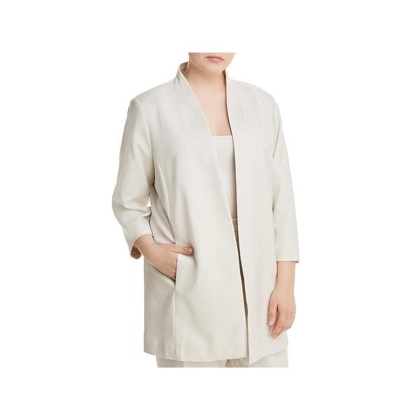 Eileen Fisher Womens Plus Open-Front Blazer Tencel 3/4 Sleeves - 1X