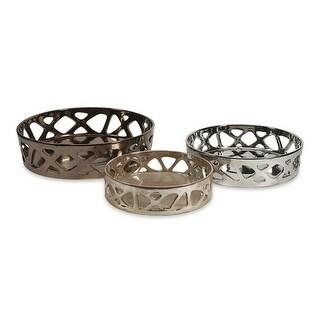 3 Stylish Geometric Cutwork Metallic Glazed Ceramic Decorative Serving Trays