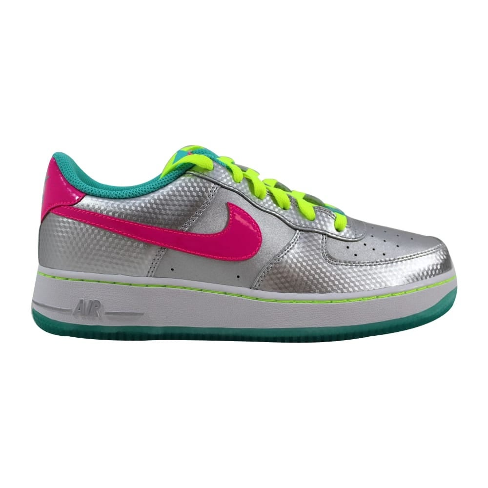 Nike Grade School Air Force 1 Metallic SilverHyper Pink Hyper Jade 314219 011