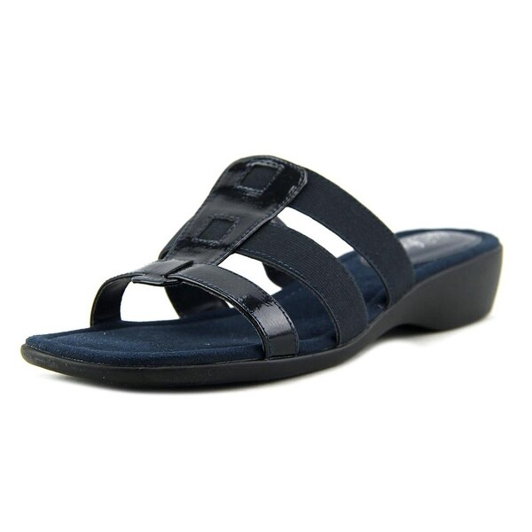 Life Stride Talk Women W Open Toe Canvas Blue Slides Sandal