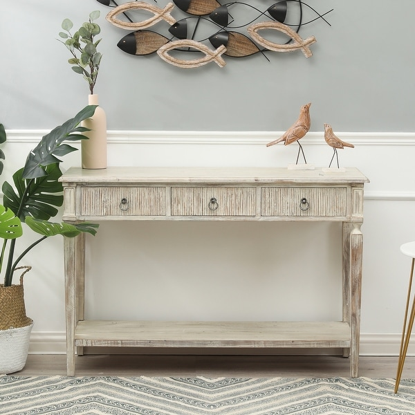 White Washed Wood Three Drawer Console Table. Opens flyout.