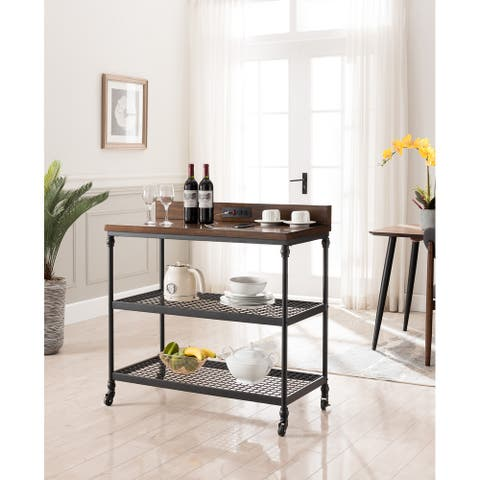 Covington Kitchen Cart with USB Charging Station