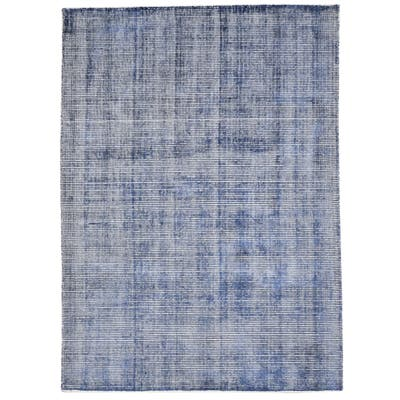 One of a Kind Hand-Woven Modern 5' x 8' Solid Wool Blue Rug - 5' x 6'