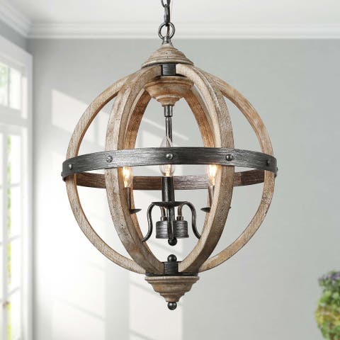 "Vintage Antique Wood 3-light Globe Pendant Lighting Chandelier for Kitchen Island - W15.7"" x H21.5"""