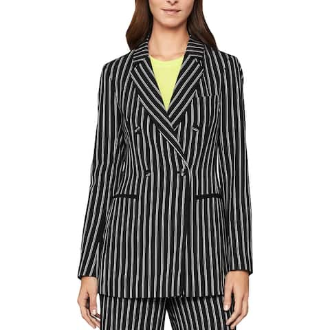 BCBG Max Azria Womens Blazer Striped Double Breast - Black Combo