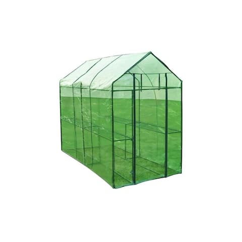Patio Greenhouse Steel Frame Tear-resistant Cover 2-Shelf Garden Outdoor