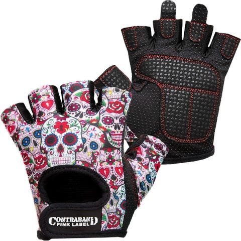 Contraband Sports 5237 Pink Label Sugar Skull Weight Lifting Gloves - White