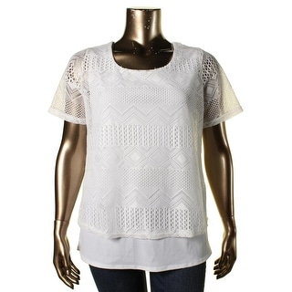 NY Collection Womens Plus Lace Lined Casual Top - 1X
