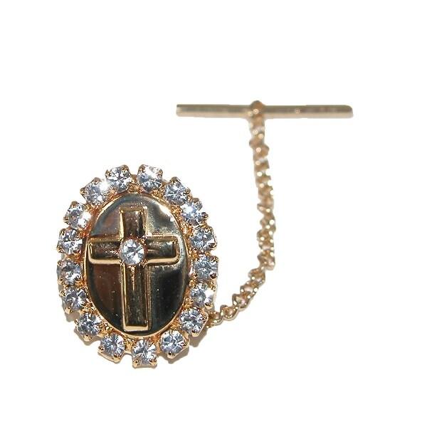 CTM® Men's Rhinestone Cross Tie Tack Pin, Gold - One size