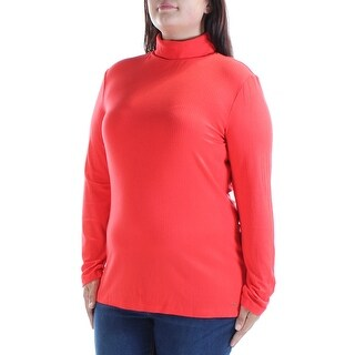 Womens Red Long Sleeve Turtle Neck Casual Top Size XL