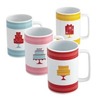Serveware 4-Piece Porcelain Mug Set, Mini Cakes Pattern,