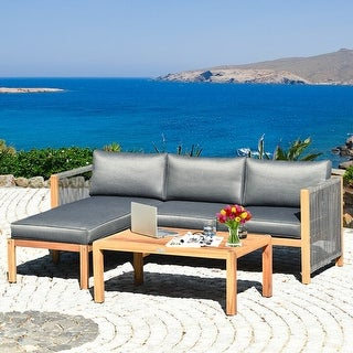 Link to 3 Piece Patio Acacia Sofa Set with Nylon Armrest - Natural Similar Items in Outdoor Sofas, Chairs & Sectionals
