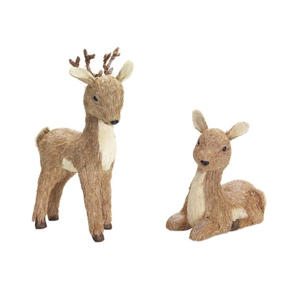 "Pack of 2 Set of 2 Male and Female Brown Sisal Deer with Snow 17""H"