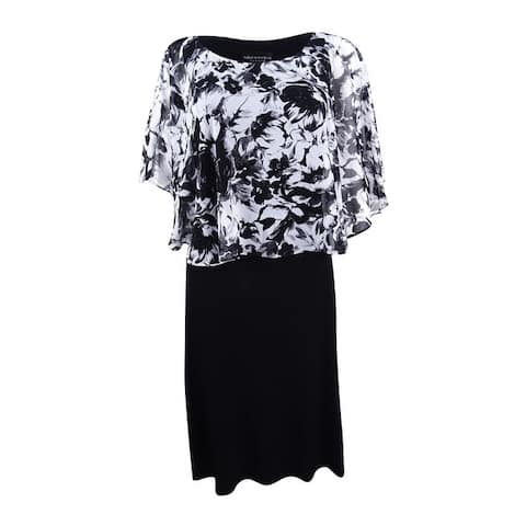 Connected Women's Printed Cape Overlay Sheath Dress - Black