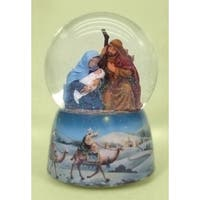 Pack of 2 Musical Nativity Holy Family Christmas Snow Globe Glitterdomes - multi