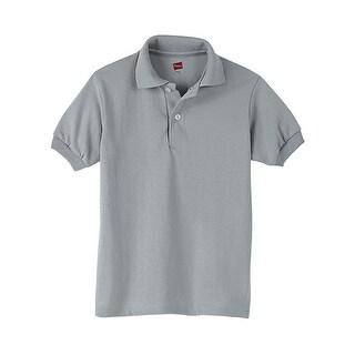 Hanes Kids' Cotton-Blend EcoSmart Jersey Polo
