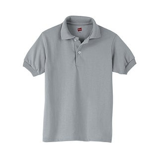 Hanes Kids' Cotton-Blend EcoSmart® Jersey Polo - Size - M - Color - Light Steel
