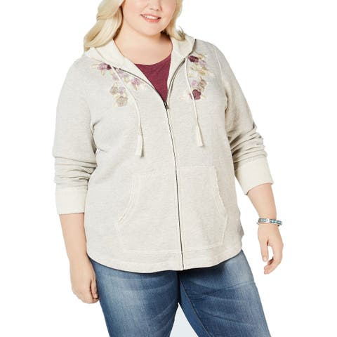 Style & Co Plus Size Embroidery Detail Hooded Jacket Lt/Pas Gray - 0X