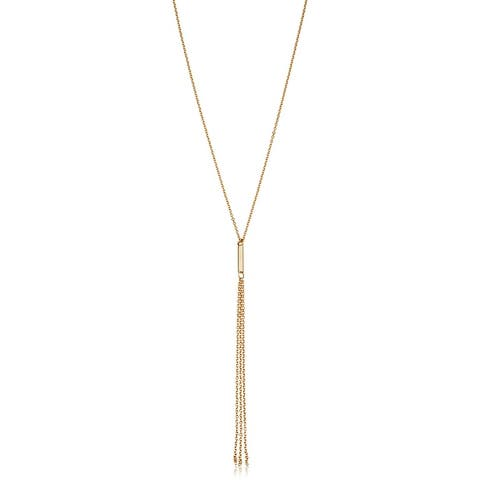 14k Yellow Gold Tassel Adjustable Length Necklace (adjusts to 17 or 18 inches)