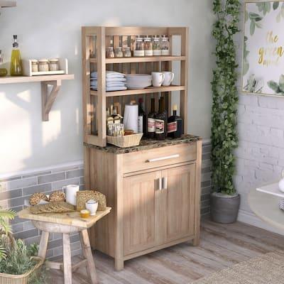 Furniture of America Dika Farmhouse Brown 2-door Cabinet Baker's Rack
