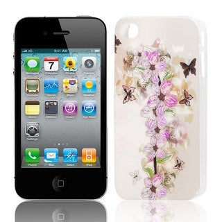 Unique Bargains Butterfly Pattern Hard Plastic Protect Back Case Cover Purple for iPhone 4 4G 4S