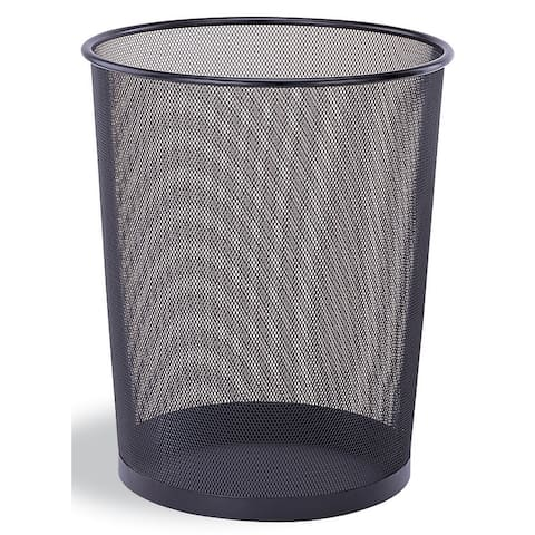 "Organize It All 42167W-B 11-3/4"" Diameter Steel Waste Basket - - Black"