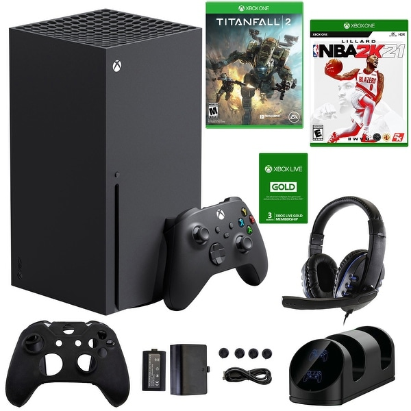 Xbox Series X 1TB Console with Accessories Kit, 3 Month Live Card, Titanfall 2 and NBA2K21 Games - Black. Opens flyout.