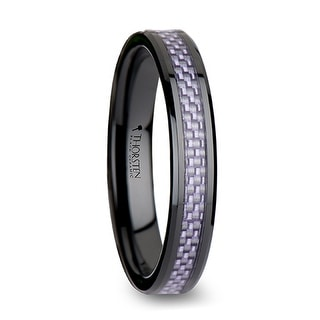 THORSTEN - LILAC Beveled Black Ceramic Ring with Purple Carbon Fiber Inlay - 6mm