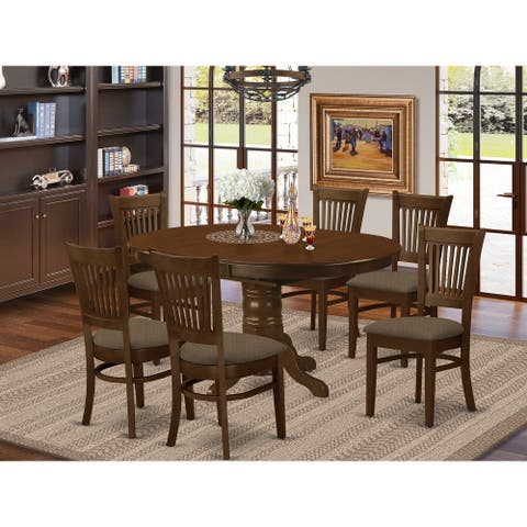 7-piece Dining Set Includes Extendable Oval Table and Dining Chairs