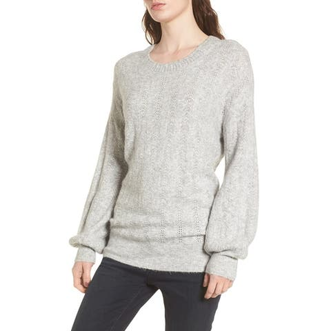 Hinge Womens Pointelle-Knit Open-Back Pullover Sweater