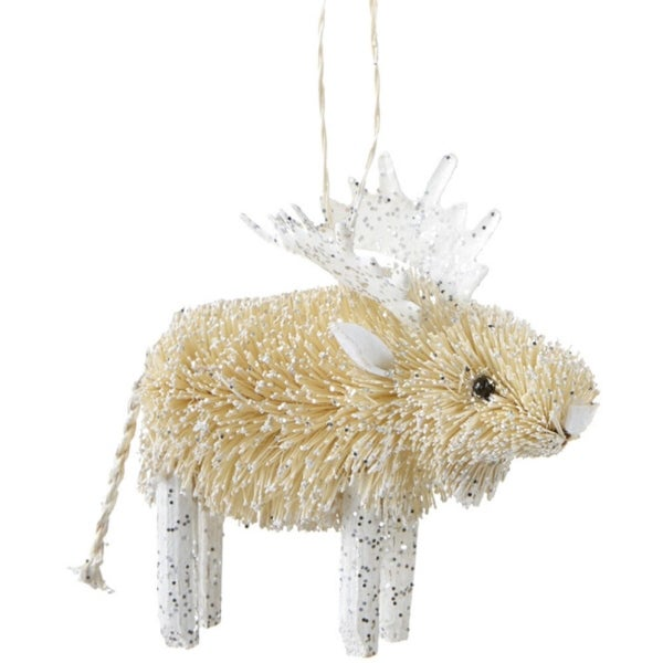 "4.25"" Snowy Winter Glitter Embellished Wooden Bristled Snow Moose Christmas Ornament"