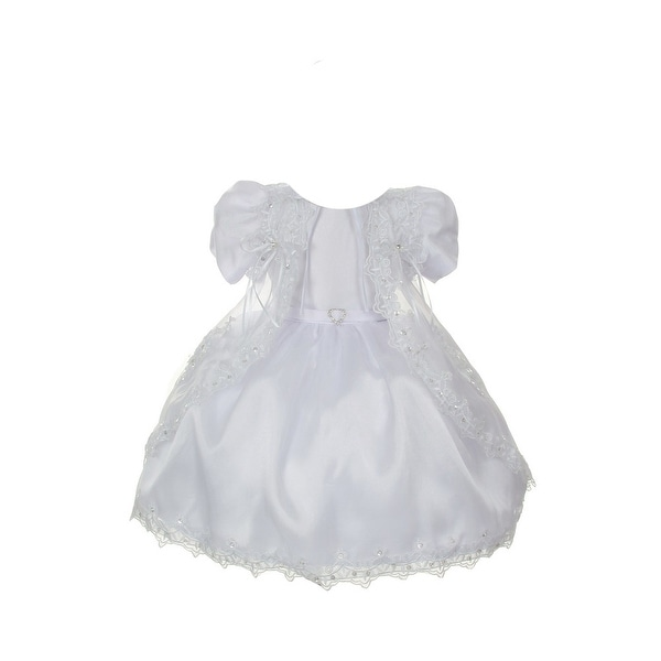 dc5b8599728 Shop Rain Kids Baby Girls White Satin Sheer Organza Baptism Dress 3-24M -  Free Shipping On Orders Over  45 - Overstock - 23077766