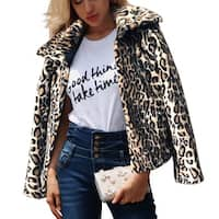 QZUnique Women Faux Leopard Fur Jacket Coat Fluffy Parka Overcoat