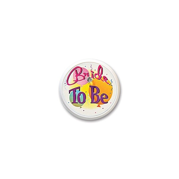 """Pack of 6 White """"Bride To Be"""" Decorative Blinking Buttons 2"""" - N/A"""