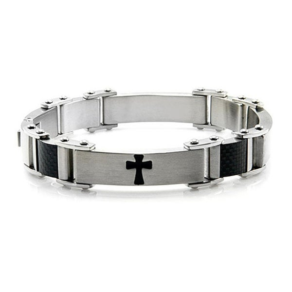 Men's Stainless Steel Bracelet w/ Cross Design - 8.5 inches