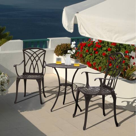 Nuu Garden Outdoor 3-pc. Cast Aluminum Bistro Set