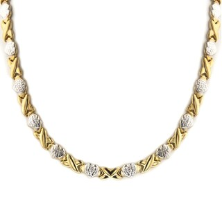 Mcs Jewelry Inc STERLING SILVER TWO-TONE STAMPATO XOXO FRIENDSHIP/RELATIONSHIP NECKLACE - Gold