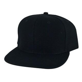 Plain Flat Brim Wool Adjustable Snapback Hat Cap by CapRobot - Black