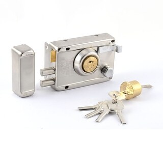 Unique Bargains Household Metal Double Locking Band Edge Right Open Door Lock w 5 Crescent Keys