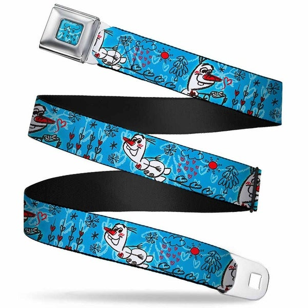 Frozen Cloud Heart Raindrop Sketch Full Color Blues Black Olaf Heart Seatbelt Belt