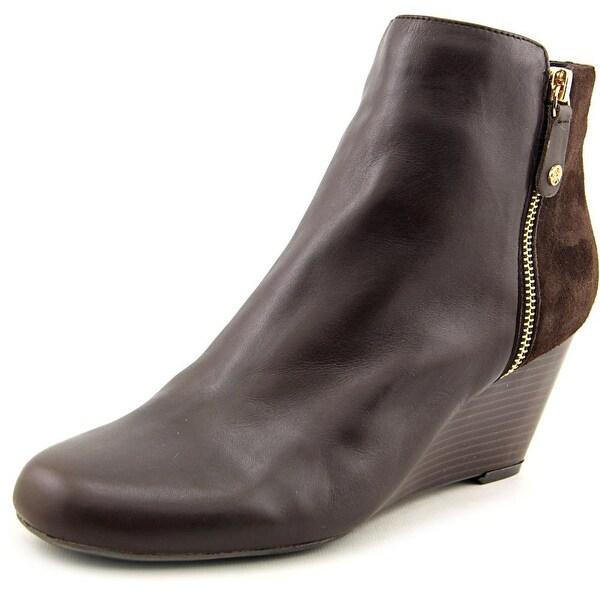 Isaac Mizrahi Kierra Women Round Toe Leather Brown Bootie